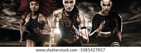 A strong athletic, women sprinter, running on dark background wearing in the sportswear, fitness and sport motivation. Runner concept. #1085427857