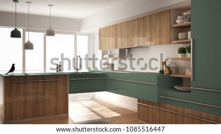 Modern minimalistic wooden kitchen with parquet floor, carpet and panoramic window, white and green architecture interior design, 3d illustration #1085516447