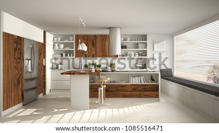 Modern kitchen with classic wooden fittings and panoramic window, white minimalistic interior design, 3d illustration #1085516471