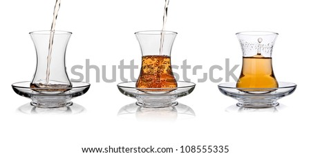Turkish tea glass splash in sufficient amount set collage on white background