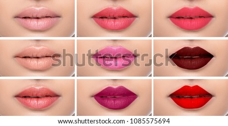 Set or collage female lips with different color of lipsticks on the female lips. shades of lipstick makeup variations #1085575694