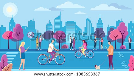 People with bicycles in the ecologically pure city park, landscape. Cycle lane, mobile internet technology and no car sign