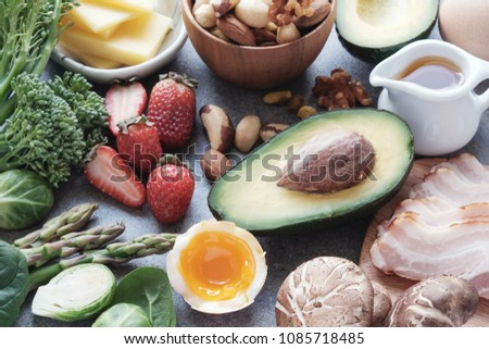 Keto, Ketogenic diet, low carb, healthy food #1085718485