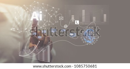 Visual effects. Future technology touch screen interface. Handsome businessman in shirt touching screen interface, drawing a chart in futuristic office. Selective focus on the hand / AI(Artificial Int #1085750681