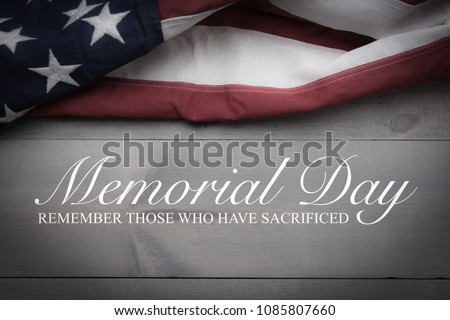 The flag of the United Sates of America on a grey plank background with memorial day #1085807660