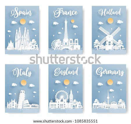Set of travel postcard and poster of world famous landmark, Spain, Italy, England, France, Holland and Germany, in paper origami style with blue background. Vector illustration.