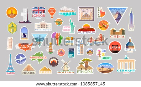 Big Set of vector travelling stickers. Landmarks of the World. Collection include, Turkey, the USA, Italy, France, Egypt, China, Spain, the UK, Australia, Brazil, Malta, Japan, South Africa and other. Royalty-Free Stock Photo #1085857145
