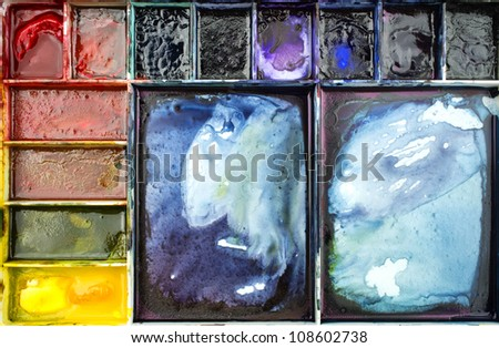 Watercolor palette : 12 colors for a small elementary school art #108602738