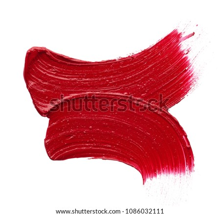 Red makeup smear of matte lip gloss isolated on white background. Red creamy lipstick texture isolated on white background #1086032111