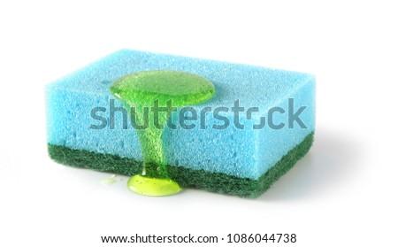 dishwashing sponge isolated onwhite background Royalty-Free Stock Photo #1086044738