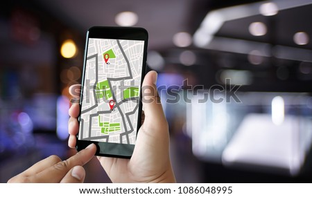 GPS Map to Route Destination network connection Location Street Map with GPS Icons  Navigation #1086048995