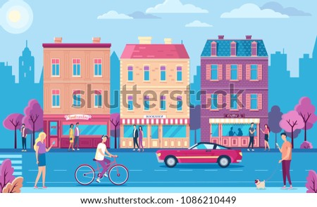People walking on the city street. Old buildings and car
