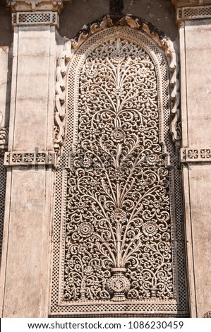 Intricate tomb carvings at Syed Pir Shah tomb in Lakhpat fort, Kutch, Gujarat, India #1086230459