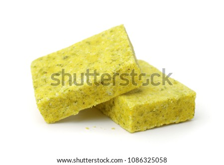 Bouillon stock cubes isolated on white