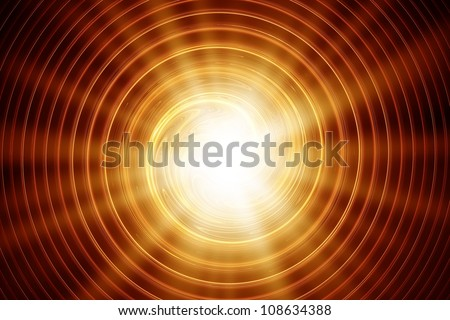 abstract sun, emitting rays of red and gold colors, and the radial waves