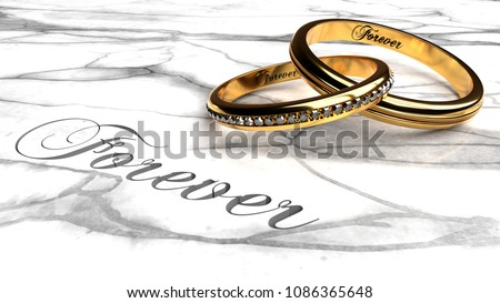 Happy marriage, love forever, together eternally symbolized by two expensive, joined together, inseparable wedding rings with engraved word 'forever' on a white marble table, close up