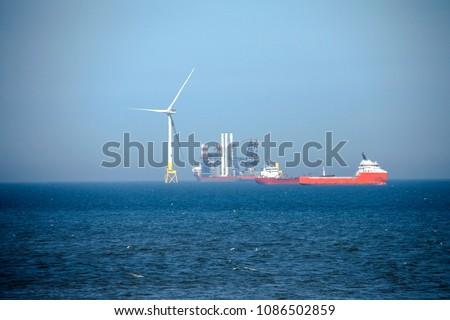 Wind farm installation. Aberdeen, Scotland, United Kingdom. May 8th 2018 #1086502859