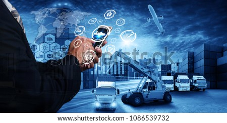 Abstract image of business man point to the hologram on smartphone and forklift handling container box loading for logistic import export and transport industry concept, the concept of communication #1086539732