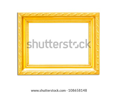 Gold Vintage picture frame, wood plated, white background, clipping path included