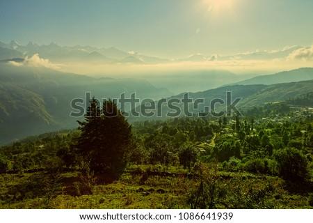 View of beautiful Panchchuli peaks of the Great Himalayas as seen from Munsiyari, Uttarakhand, India. #1086641939