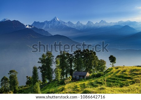 View of beautiful Panchchuli Peaks of the Great Himalayas as seen from Munsiyari, Uttarakhand, India. #1086642716