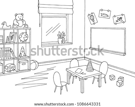 Preschool classroom graphic black white interior sketch illustration vector