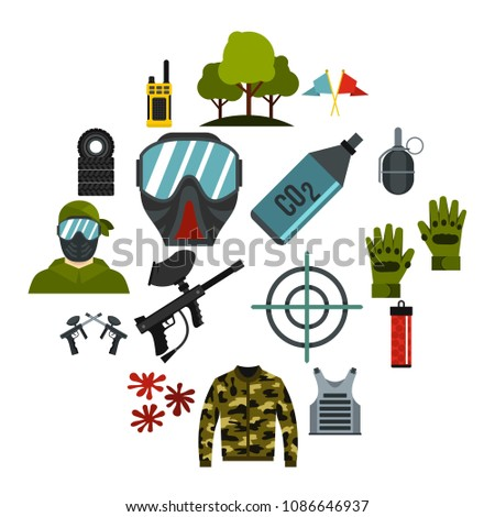 Paintball icons set. Flat illustration of 16 paintball vector icons for web