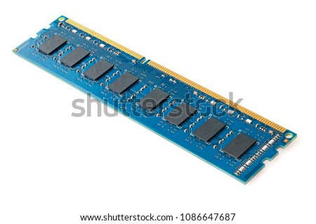 Photo of DDR RAM memory module isolated on white background #1086647687