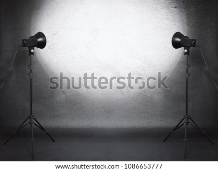 photo studio in old grunge room with concrete wall, urban background #1086653777