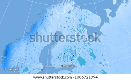 Finland area on the annual precipitation map in the stereographic projection - main composition #1086721994