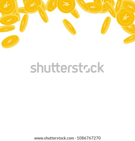 Chinese yuan coins falling. Scattered big CNY coins on white background. Bold abstract top border vector illustration. Jackpot or success concept. #1086767270