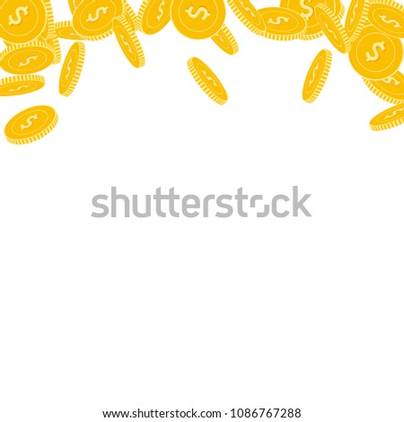 American dollar coins falling. Scattered big USD coins on white background. Classic abstract top border vector illustration. Jackpot or success concept. #1086767288