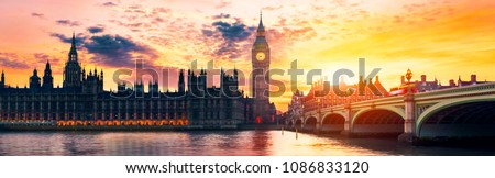 Big Ben and Houses of parliament at dusk, London, UK #1086833120