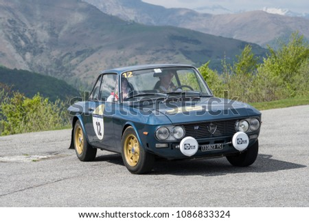 Bielmonte - Biella / ITALY - May 05, 2018: a classic car, Lancia Fulvia HF, built in 1971, during the Trofeo Tollegno, a rally for vintage cars. #1086833324