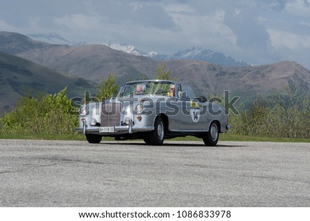Bielmonte - Biella / ITALY - May 05, 2018: a classic car, Mercedes 260 SL, built in 1965, during the Trofeo Tollegno, a rally for vintage cars. #1086833978