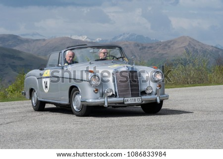 Bielmonte - Biella / ITALY - May 05, 2018: a classic car, Mercedes 260 SL, built in 1965, during the Trofeo Tollegno, a rally for vintage cars. #1086833984
