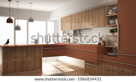 Modern minimalistic wooden kitchen with parquet floor, carpet and panoramic window, white and red architecture interior design, 3d illustration #1086834431