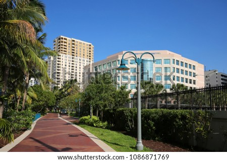Beautiful Riverwalk Park on the banks of the New River in downtown Fort Lauderdale, Florida, USA.  #1086871769