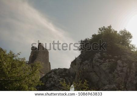 "known touristic destination called Orphans castle ""sirotci hradek"" at summer/spring, Pavlov, South Moravia, Czech republic #1086963833"
