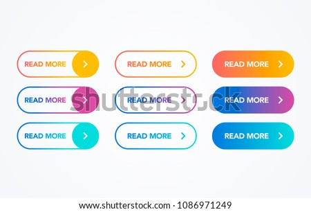 Read More colorful button set on white background. Flat line gradient button collection. Vector web element Royalty-Free Stock Photo #1086971249