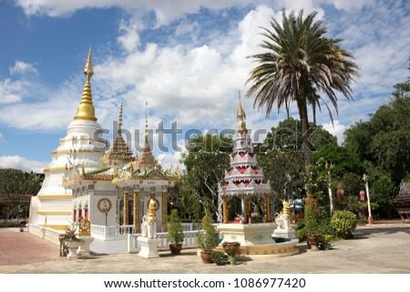 An ancient pagoda at Wat Nantaram, Chieng Kam, Phayao at the north of Thailand. #1086977420