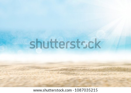 Blur tropical beach with bokeh sun light wave abstract background. Copy space of outdoor summer vacation and travel adventure concept. Vintage tone filter effect color style. #1087035215