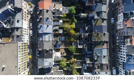 Aerial top down picture of Antwerp neighborhood showing several residential and office buildings photo taken during beautiful summer day