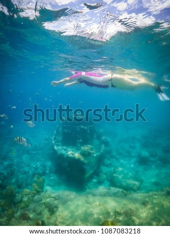 snorkelling at the Tug boat wreck with lots of fish Views around the small Caribbean island of Curacao #1087083218