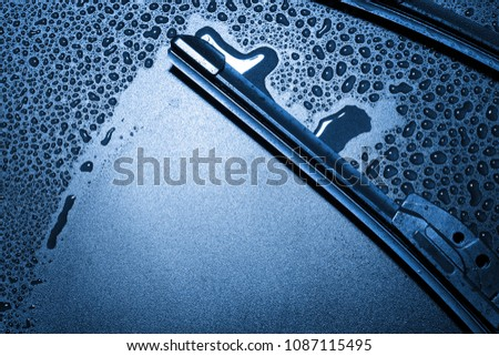 Closeup modern style of car windshield wiper. Royalty-Free Stock Photo #1087115495