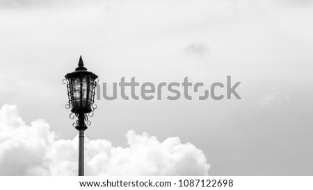 Vintage lamp post - monochrome #1087122698