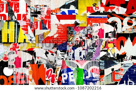 Collage ripped torn advertisement posters grunge creased crumpled paper texture background placard backdrop surface Royalty-Free Stock Photo #1087202216
