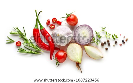 composition of various herbs and spices isolated on white background, top view Royalty-Free Stock Photo #1087223456