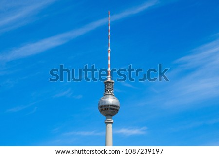 Berlin, Germany - may, 2018: The television tower / Tv Tower (Fernsehturm), the most famous landmark in Berlin, Germany #1087239197