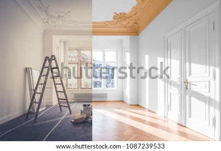 renovation concept - room before and after renovation  #1087239533